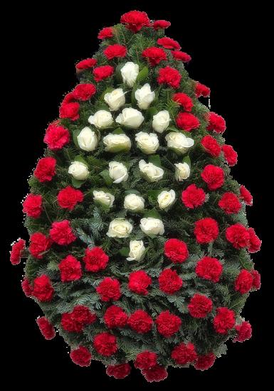 Coroana funerara clasica din garoafe si trandafiri