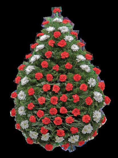 Coroana funerara clasica din garoafe rosii si crizantema alba