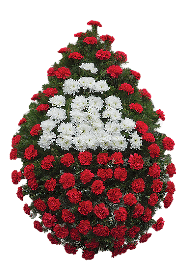 Coroana garoafe rosii centru crizantema
