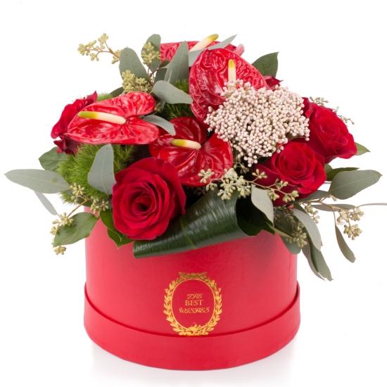 Aranjament de Trandafiri, Anthurium, Green trick, Floare de orez, Verdeață, Cutie, Rotundă, Roșie