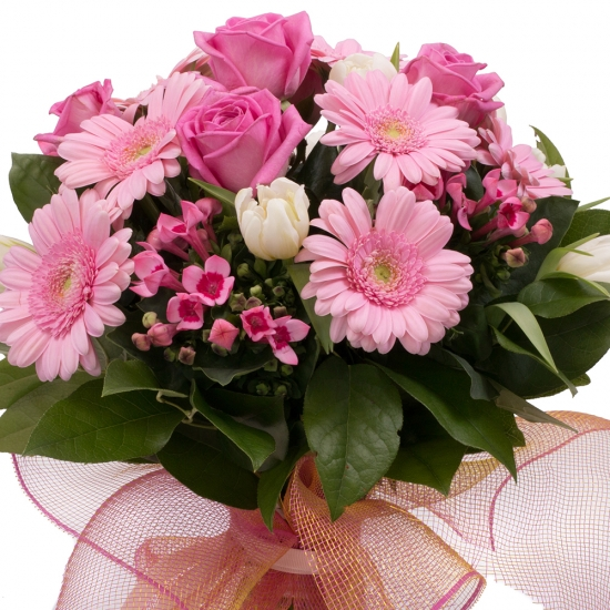 Buchet 5, Trandafiri, Roz, Trandafir, 7, Gerbera, 5, Bouvardia, 10, Lalele, Albe, Lalea, Verdeață