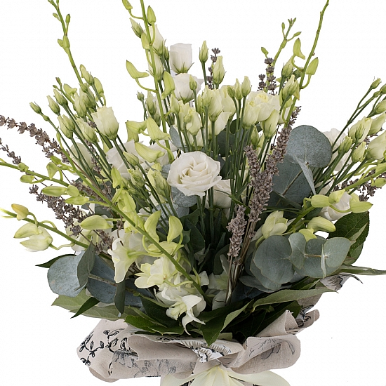 Buchet de 10, Dendrobium, Alb, 5, Lisianthus, Alb, Lavanda, Verdeață