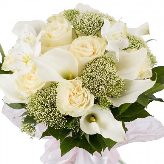 Buchet de 11, Trandafiri, Albi, 10, Cale, Albe. Cală, 2, Eucharis, Grandiflora, Verdeață