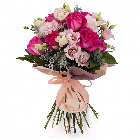 Buchet de 11, Trandafiri, Ciclam, 7, Lisianthus, Roz, Senecio, Cineraria, Verdeață