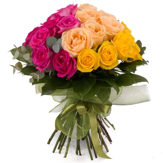 Buchet de 27 Trandafiri tricolori