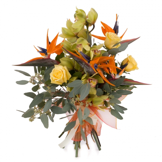 Buchet de 5, Strelitzia, Streliția, 1, Cymbidium, Verde, Orhidee, Verzi, 3, Trandafiri, Galbeni