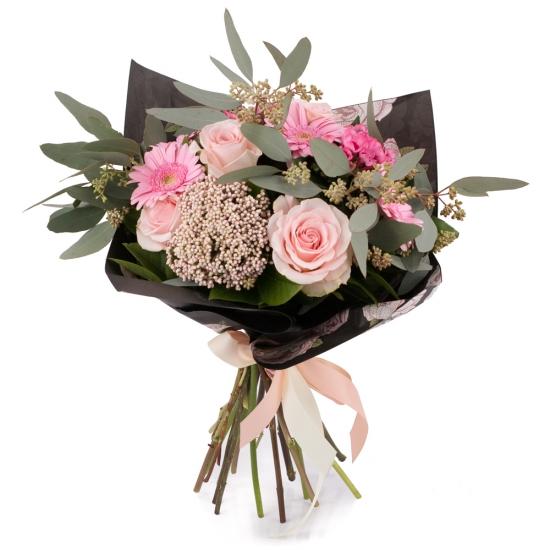 Buchet de 5, Trandafiri, Roz, 3, Bouvardia, 5, Gerbera, 2, Floare de orez, Verdeață