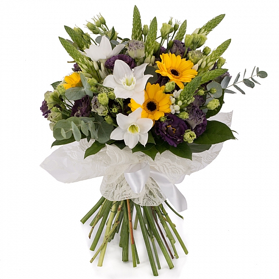 Buchet de Ornitogalum, Lisanthus, Mov, Trahelium, Gerbera, Galbenă, Eucharis, Grandiflora, Verdeață