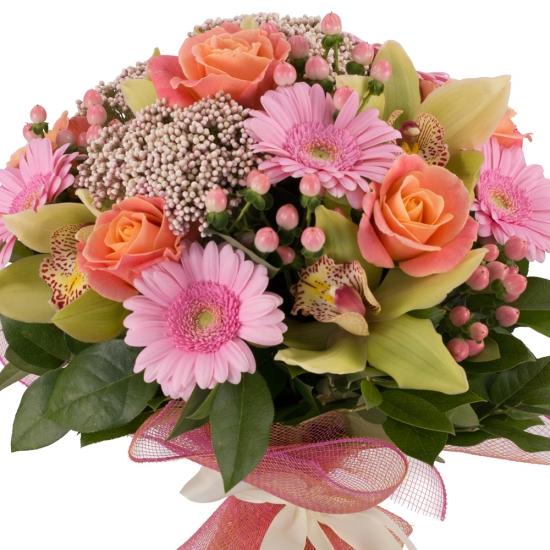 Buchet de Trandafiri, Portocalii, Hypericum, Floare de orez, Gerbera, Cymbidium, Verde, Orhidee, Roz