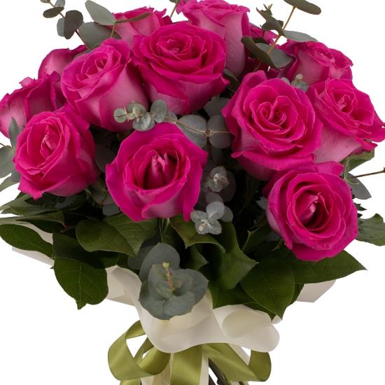 Buchet din 15 Trandafiri ciclam