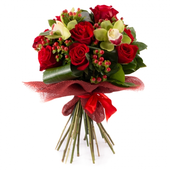 Buchet din trandafiri roșii și orhidee Cymbidium