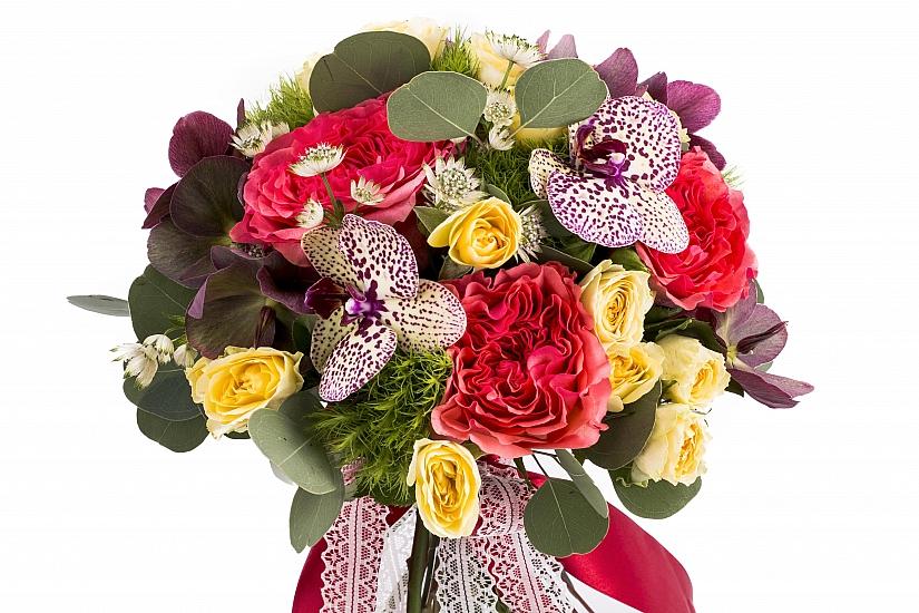 Buchet Mireasa/Nasa trandafiri ciclam si phalaenopsis