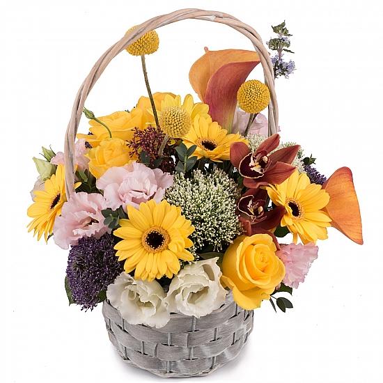 Coș cu trahelium, trandafiri, cale si gerbera